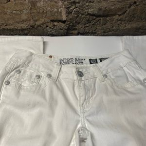 Women's White Boot Cut Stretch Miss Me Jeans Sz 28